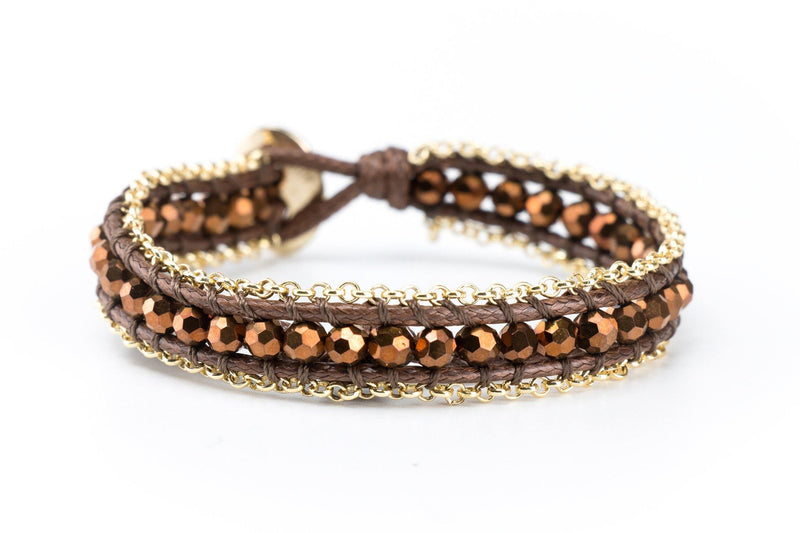 Single Wrap Gemstone Bracelet Lined with Chain - Brown | Gold