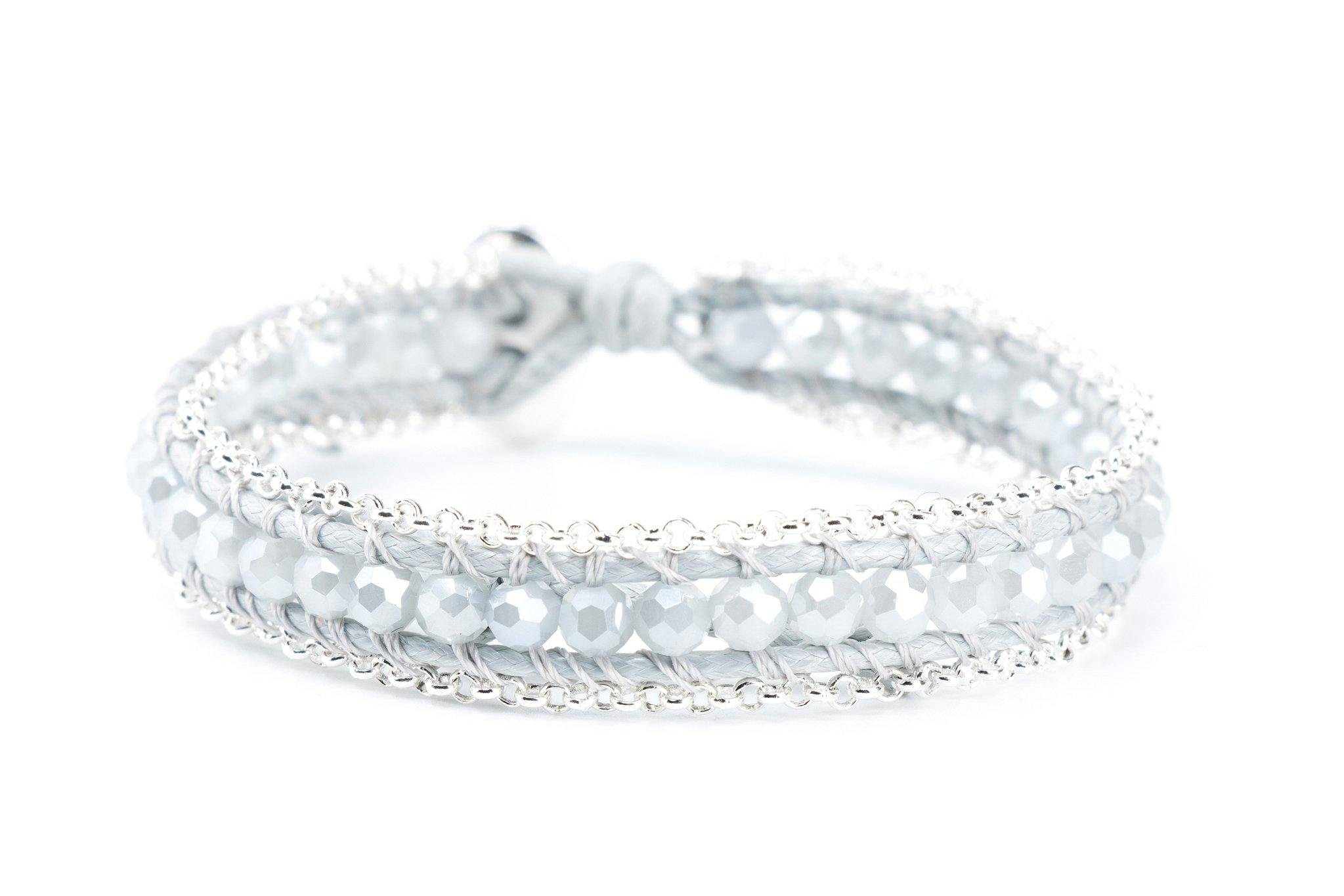 Single Wrap Gemstone Bracelet Lined with Chain - Silver | Silver