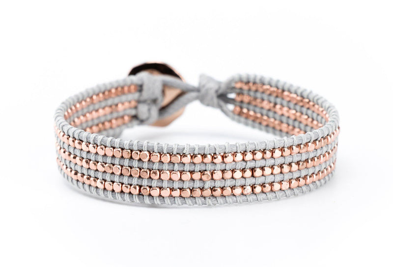 Copper Beaded Single Wrap Bracelet on Gray Cord - Filosophy