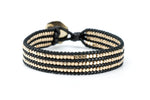 Gold Beaded Single Wrap Bracelet on Black Cord - Filosophy