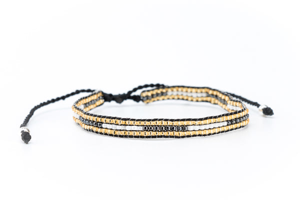 Miyuki Slide Bracelet in Black | Gold | White - Filosophy