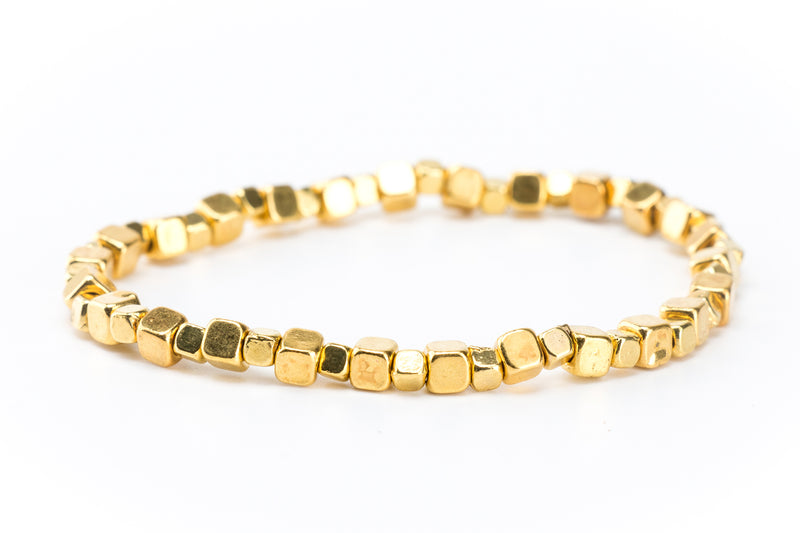 Gold Beaded Stretch Bracelet - Filosophy