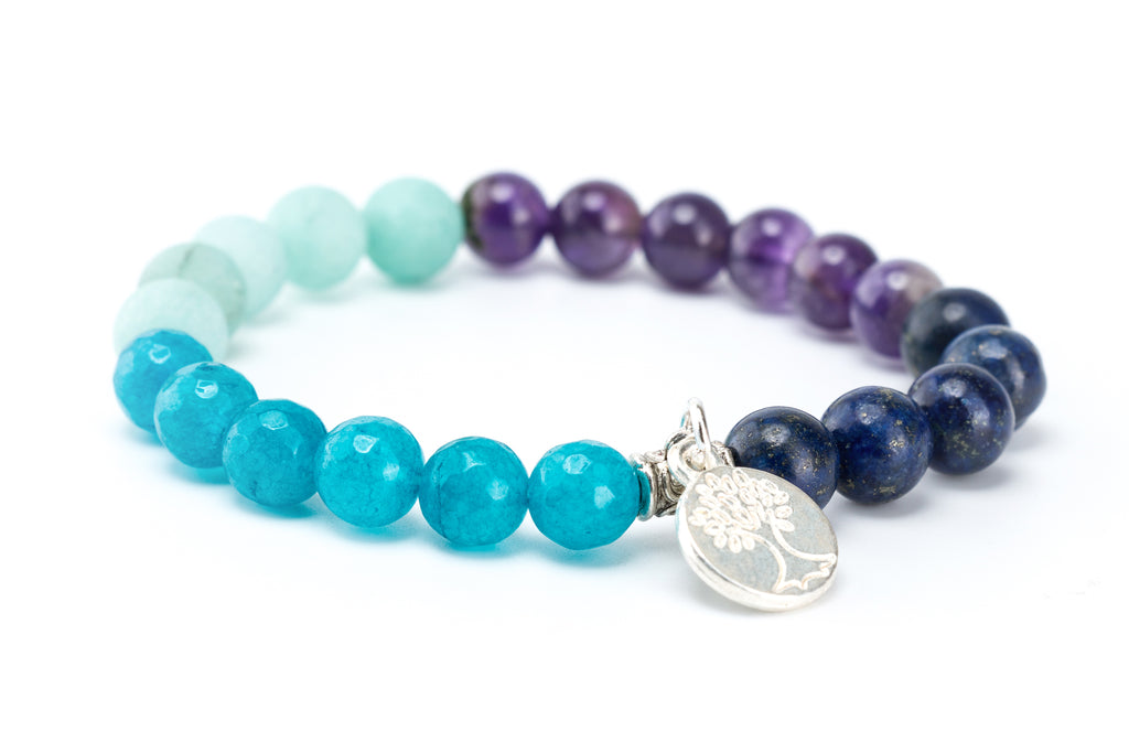Gemstone Stretch Bracelet,Tree of Life Charm Bracelet - Filosophy