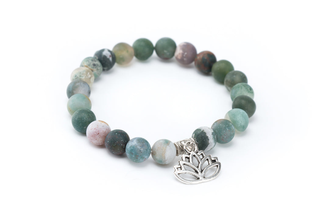 Indian Agate Bracelet with Lotus Flower Charm