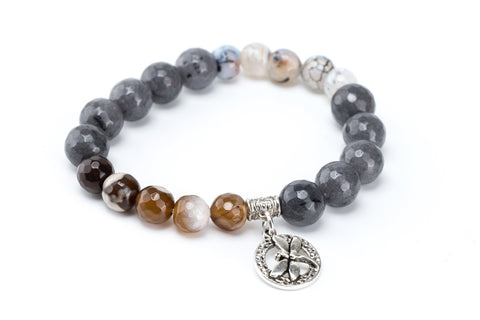 Brown Agate and Gray Quartz Dragonfly Bracelet.