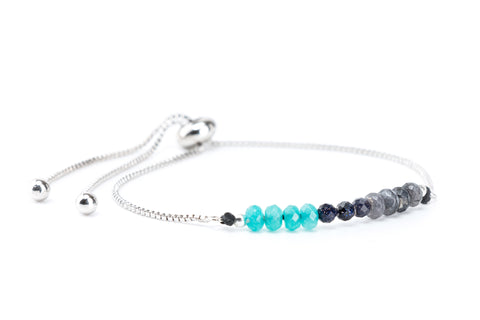 Ombre Gemstones on Silver Slide Chain Bracelet - Filosophy