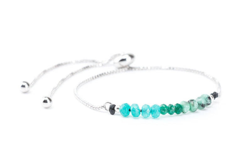 Ombre Gemstones on Silver Slide Chain Bracelet - Green