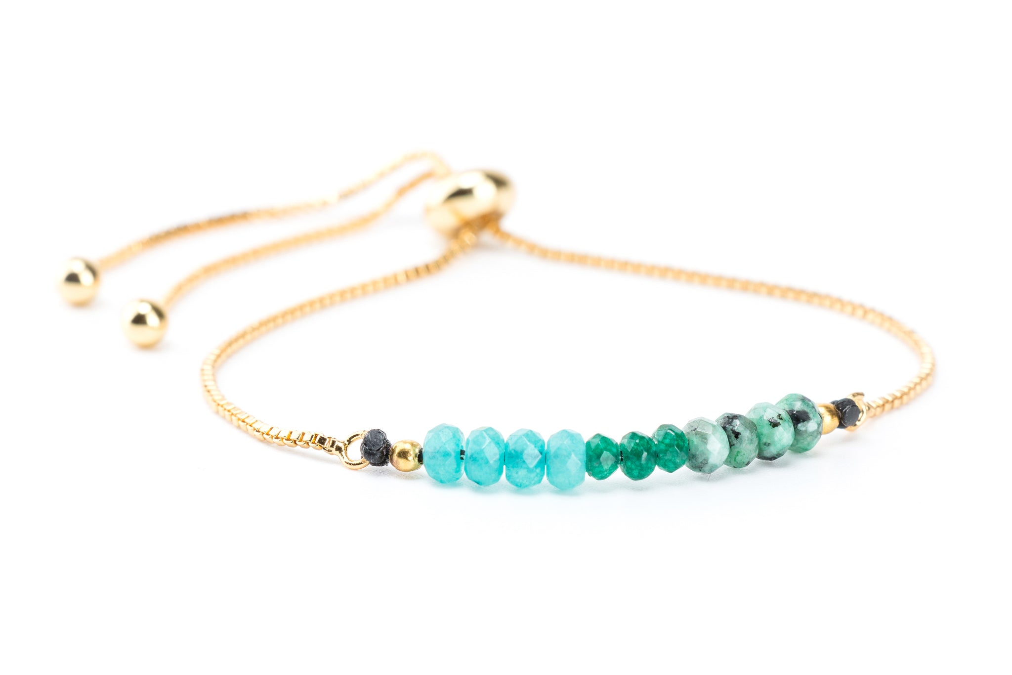 Ombre Gemstones on Gold Slide Chain Bracelet - Filosophy