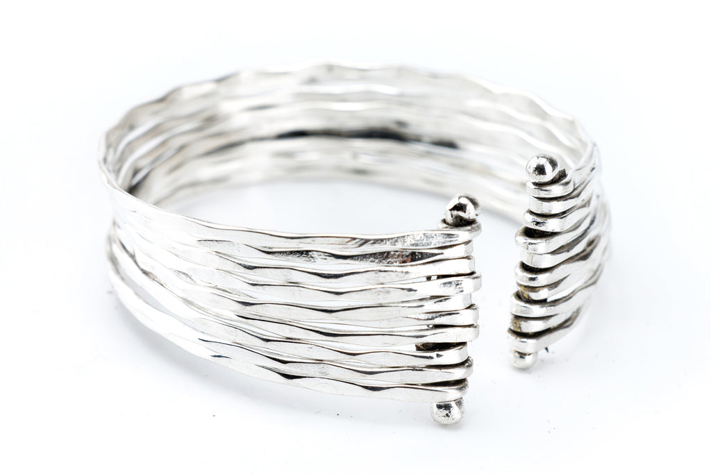 Hammered Silver Bangle Cuff - Filosophy