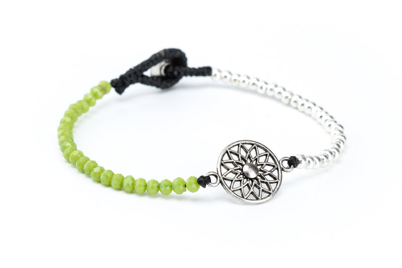 Mandala Flower Crystal Bracelet in Green Apple - Filosophy