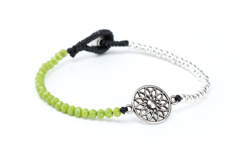 Mandala Flower Crystal Bracelet in Green Apple