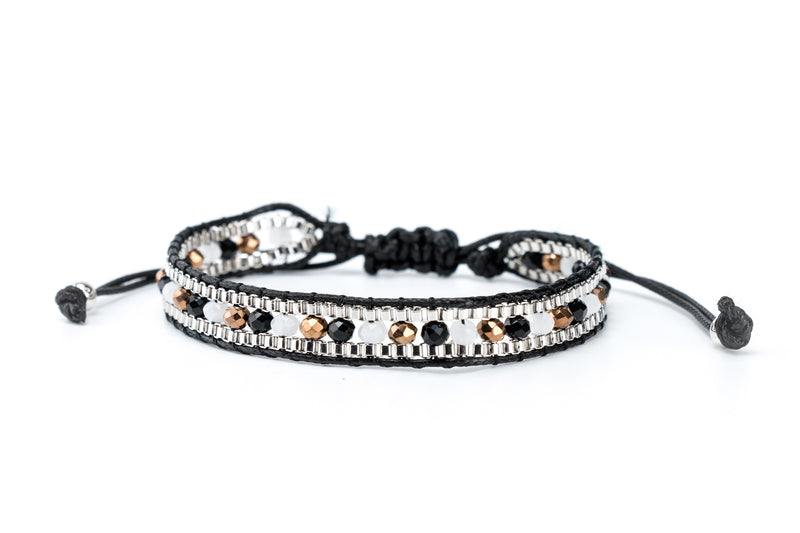 Single Wrap Bracelet Black | Silver - Filosophy