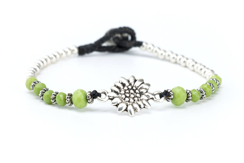 Sunflower Crystal Macrame Bracelet in Green Apple - Filosophy