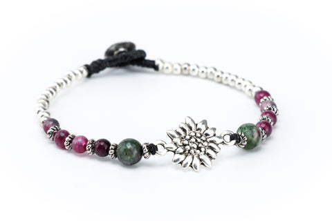 Sunflower Gemstone Macrame Bracelet in Tourmaline
