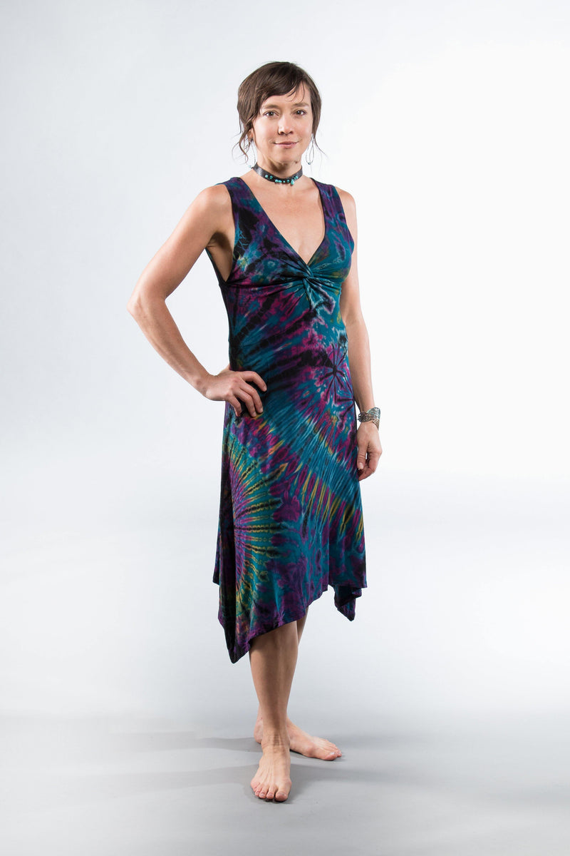 Tie Dye Twist in Front Dress - Blue Tie Dye - Filosophy