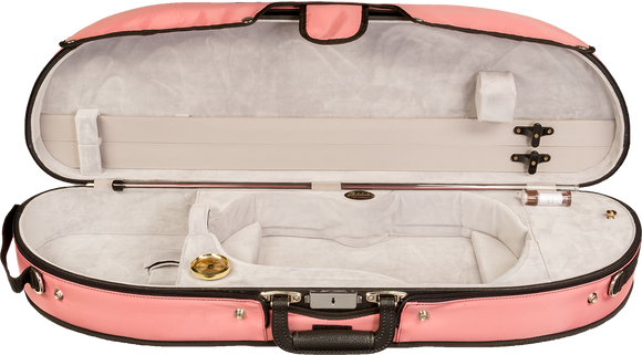 Bobelock 1047 Wooden Puffy Half-Moon Suspension Violin Case Pink Interior