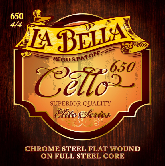 La Bella Cello Full Metal Core D Chrome steel flatwound String
