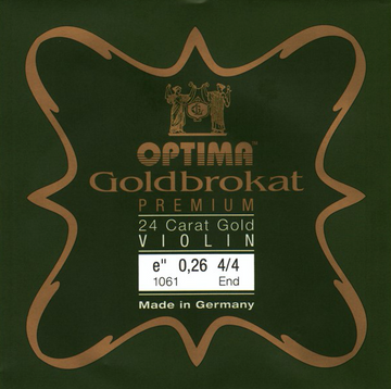Optima Goldbrokat Brassed Premium Violin E1 0.27 Ball End 4/4