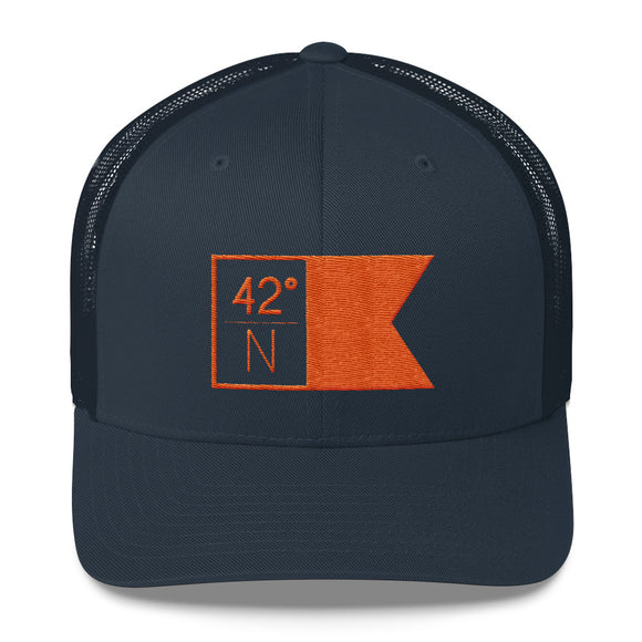 High School Hats - Navy & Orange Flagship Trucker