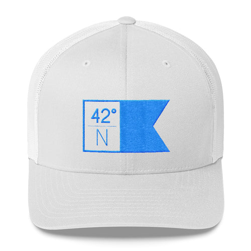 High School Hat - Bright Blue & White Flagship Trucker