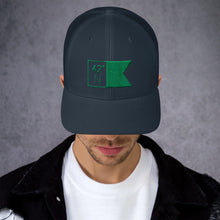Load image into Gallery viewer, High School Hats - Navy & Green Flagship Trucker