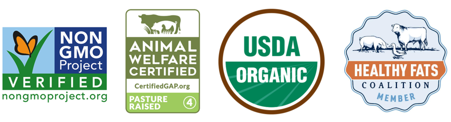 Organic Grass-fed Beef Fat Trimmings non-gmo project verified usda organic carbon neutral animal welfare Certifications