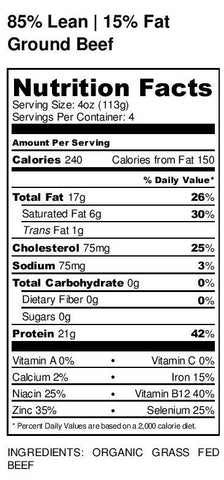 Organic Grass-fed Ground Beef nutritional facts label
