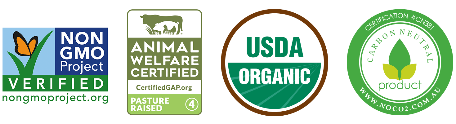 Organic Grass-fed Beef Steak Meal Prep Subscription Delivery Box non-gmo project verified usda organic carbon neutral animal welfare Certifications