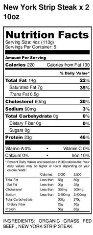 Organic Grass-fed New York Strip Steak nutritional label