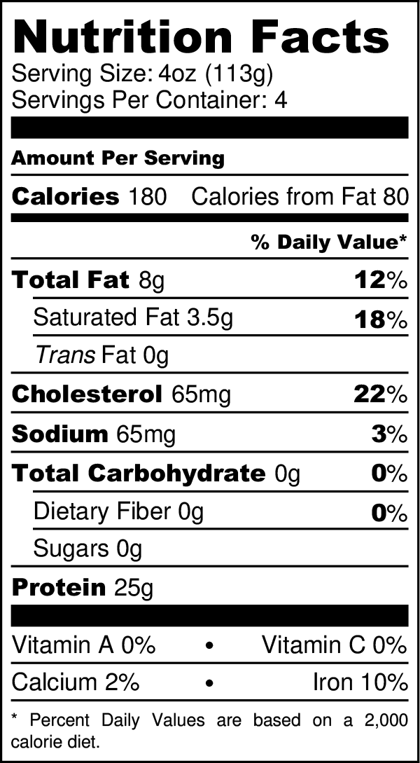 Organic Grass-fed Steak Bites nutritional facts label