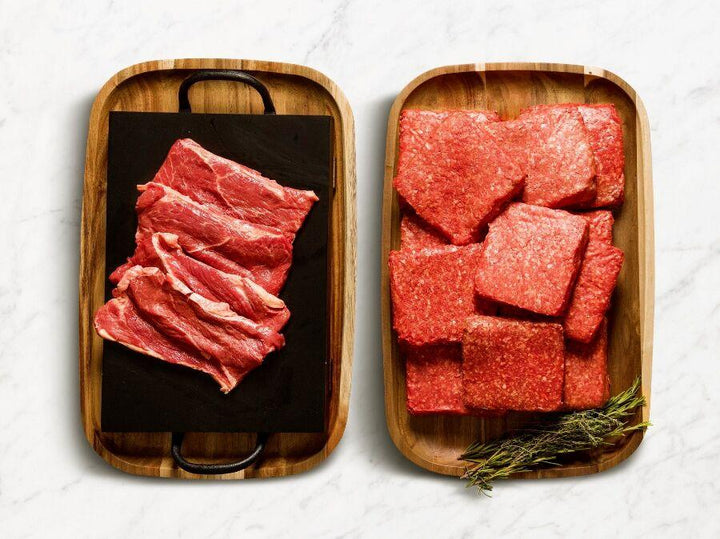 TruBeef Organic Ground Beef and Sirloin Steak - Grass-fed, Grass-finished & Aged Curated Delivery Box - TruBeef Meal Preppers Box