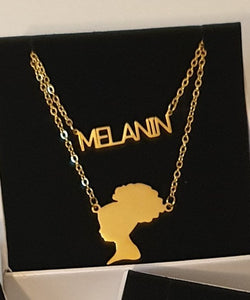 "Gold ""MELANIN PUFF"" 2-piece Necklace"