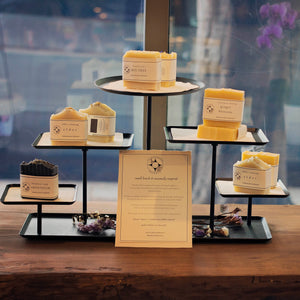 A product display of Botanical Soaps, available at Apotheka Herbal in Victoria, British Columbia