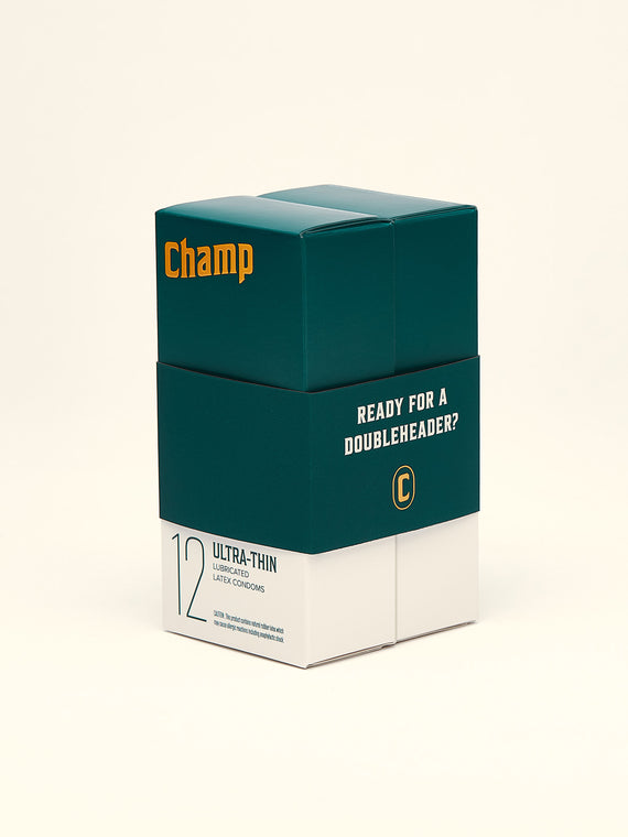 36 Pack Champ Ultra-thin Condoms. Made with premium 100% natural latex and medical-grade silicone oil.
