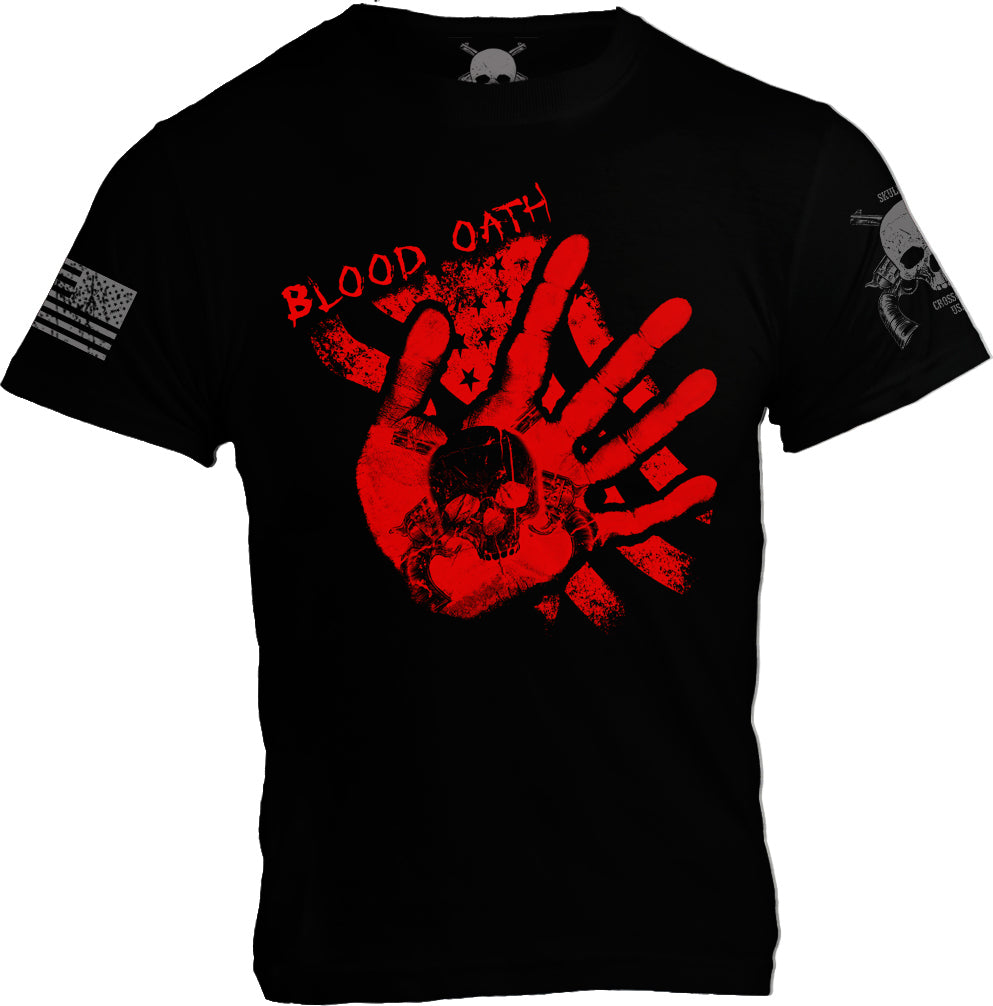 Blood Oath (Bloody hand print on US Flag) - Black - Mens