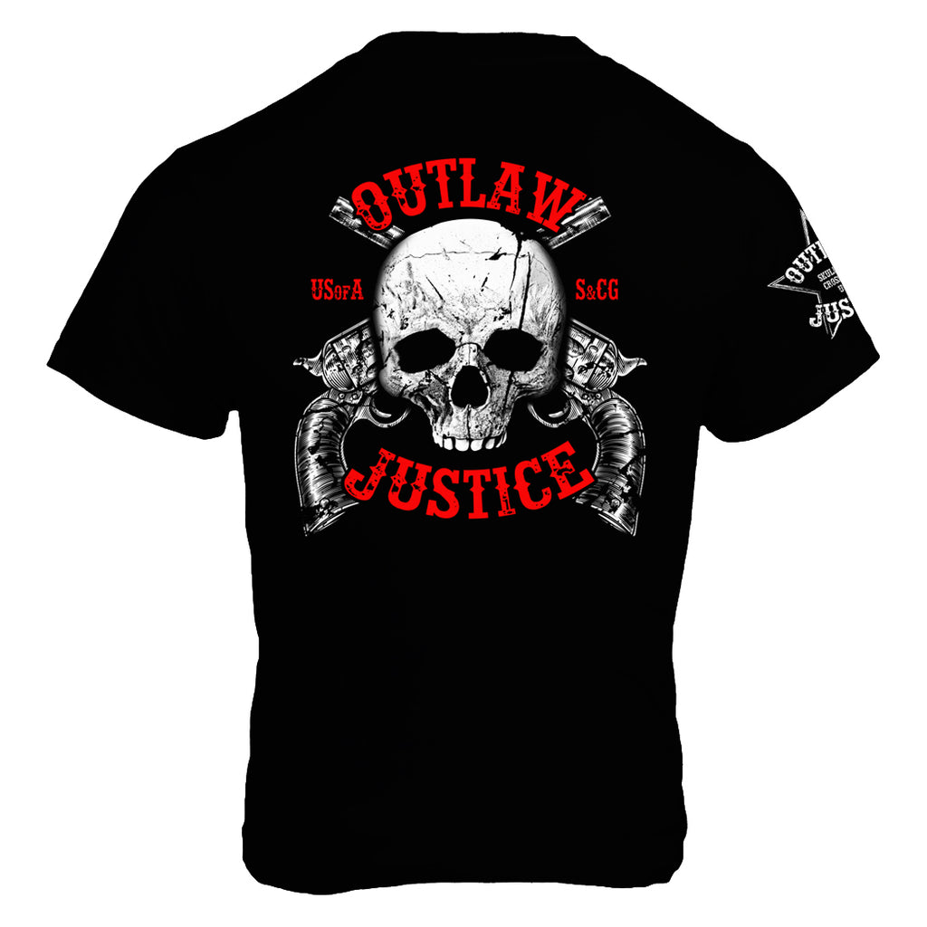Outlaw Justice with Skull and Pistols on Black