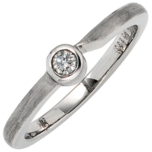 Damen Ring 950 Platin matt 1 Diamant Brillant 0,08 ct. Platinring