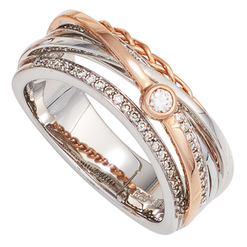 Damen Ring breit 585 Gold Weißgold Rotgold bicolor 48 Diamanten Brillanten