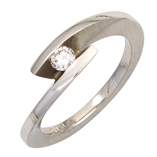 Damen Ring 950 Platin matt 1 Diamant Brillant 0,15ct. Platinring