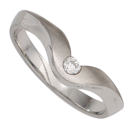 Damen Ring 950 Platin matt 1 Diamant Brillant 0,08ct. Platinring