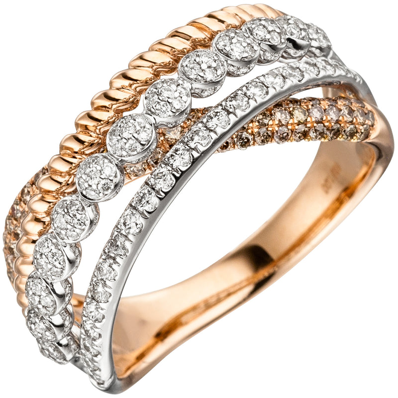 Damen Ring 585 Gold Rotgold 181 Diamanten Brillanten Rotgoldring Diamantring