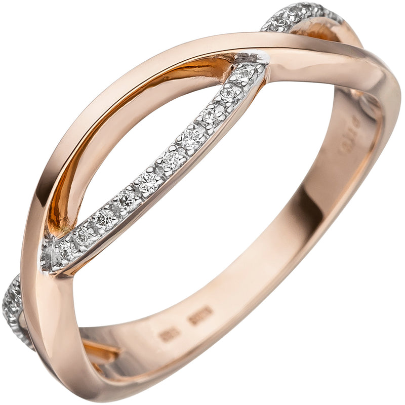 Damen Ring 585 Gold Rotgold 20 Diamanten Brillanten Diamantring