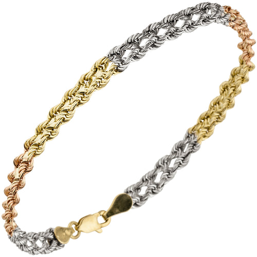 Armband 375 Gold Gelbgold Weißgold Rotgold tricolor dreifarbig 19 cm Goldarmband