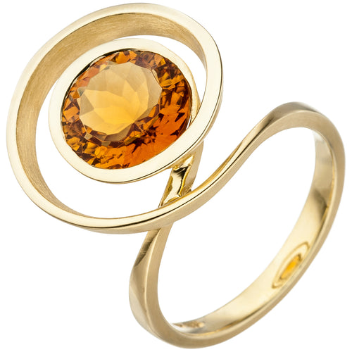 Damen Ring verschlungen 585 Gold Gelbgold 1 Citrin orange Goldring Citrinring