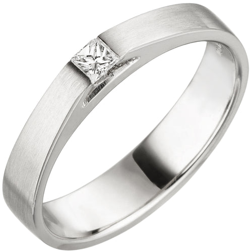 Damen Ring 950 Platin matt 1 Diamant Princess Schliff 0,07 ct. Platinring