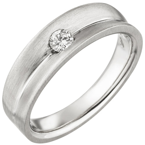 Damen Ring 950 Platin matt 1 Diamant Brillant 0,13ct. Platinring
