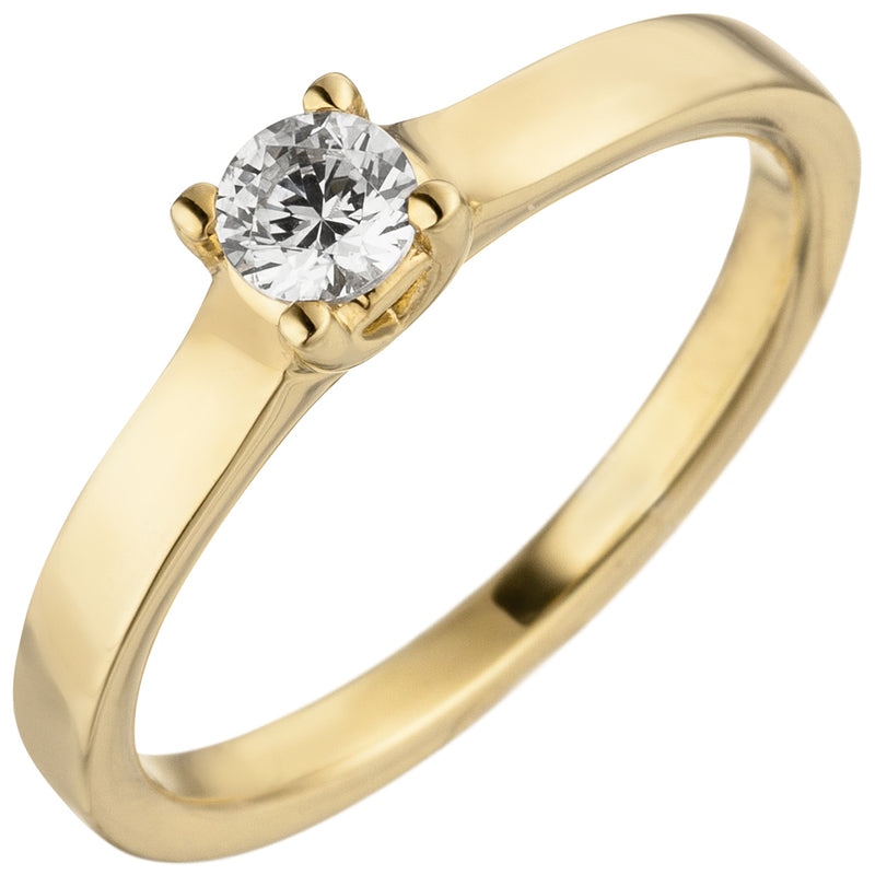 Damen Ring 585 Gold Gelbgold 1 Diamant Brillant 0,25 ct. Diamantring Solitär