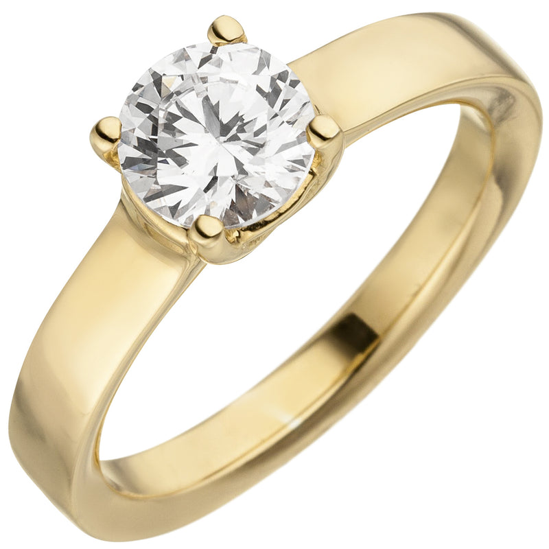 Damen Ring 585 Gold Gelbgold 1 Diamant Brillant 1,0 ct. Diamantring Solitär
