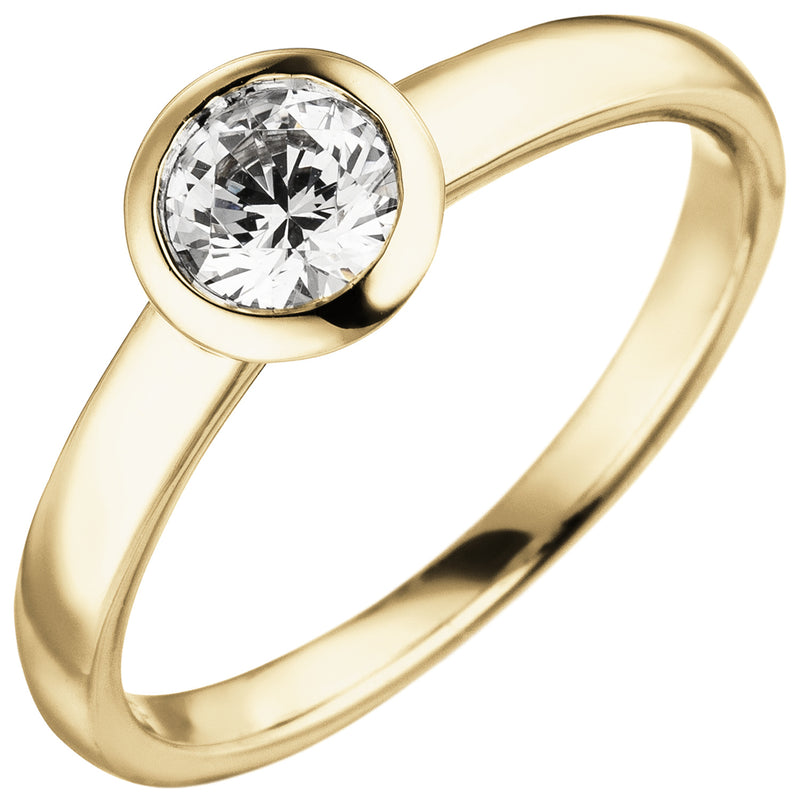 Damen Ring 585 Gold Gelbgold 1 Diamant Brillant 0,50 ct. Diamantring Solitär