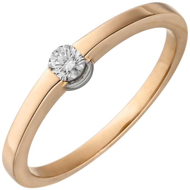Damen Ring 585 Gold Rotgold 1 Diamant Brillant 0,15ct. Diamantring